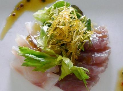 Duo de poissons marinés aux poivres et citron confit