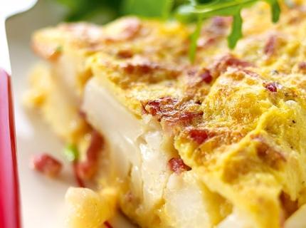 Tortilla au chou-fleur et aux lardons