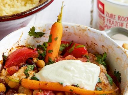 Gratin marocain aux filets de sébaste et couscous