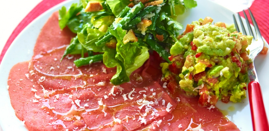 Carpaccio de bœuf au guacamole