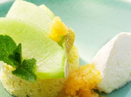 Granité de melon, cake et mousse de mascarpone
