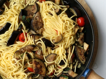 Spaghetti aux aubergines