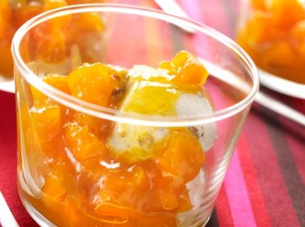 Potimarron au sirop sur glace aux noix