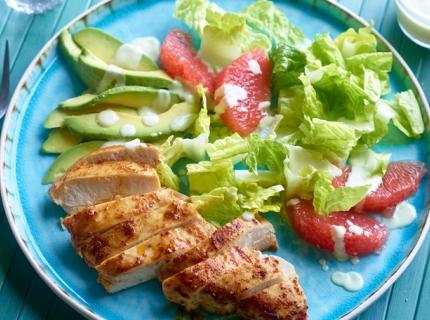 Filets de poulet tex-mex et salade Florida
