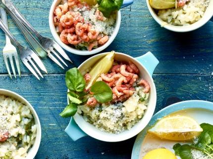 Risotto aux crevettes grises, cresson de fontaine et citron