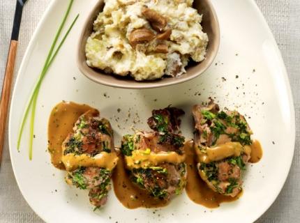 Côtelettes de faisan aux herbes, stoemp aux marrons