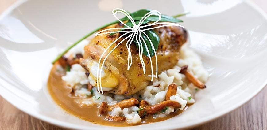 Cuisses de poulet rôties, risotto aux champignons & estragon