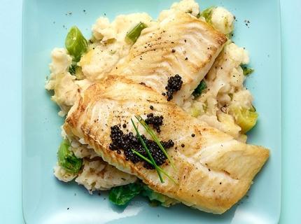 Stoemp Parmentier au dos d'églefin et caviar de hareng